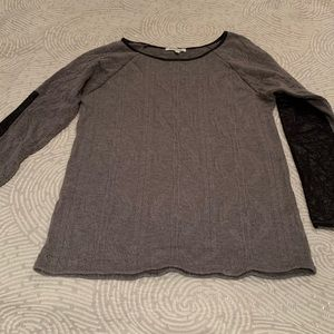 Monteau Knitted Sweater with Leather Accents